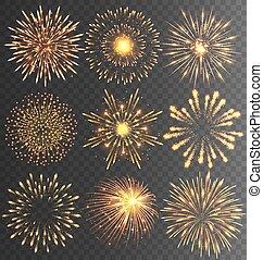 festivo, negro, saludo, fuego artificial, explosión