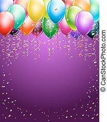 festivo, palloni coloriti, come, cima, bordo, con, coriandoli, fondo., spazio, per, text., verticale, fondo