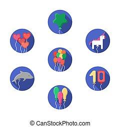 festivo, palloni coloriti, vettore, icone, set