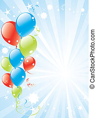 festivo, palloni, e, lightburst