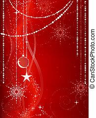 festivo, rosso, natale, fondo, con, stelle, fiocchi neve, baubles, e, grunge, elements.
