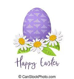 festivo, roxo, ovo, abstratos, wreath., simples, ornamentos, margarida, decorado, páscoa