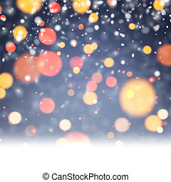 festivo, sfocato, snow., luci, fondo, baluginante
