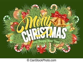 festivo, tarjeta de navidad, saludo