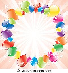 festivo, vetorial, light-burst, balões