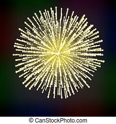 festlig, över, fireworks, bakgrund., lysande, svart, abstrakt