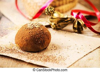 festlig, choklad, tryffel, med, röd remsa, över, trä, bakgrund
