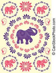 festlig, elefant, indisk, bakgrund, typisk