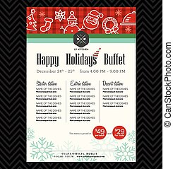 festlig, meny, restaurang, design, parti, jul