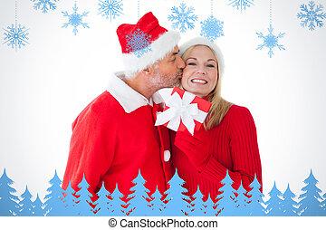 festlig, sammansatt, par, gåva, holdingen, le, avbild