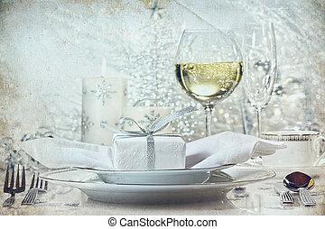 festlige, sølv, middag sætte, by, den, ferier