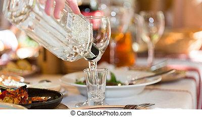 festmåltid, in, a, restaurang, närbild