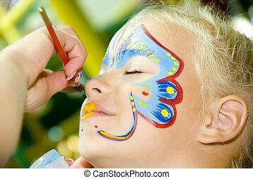 festmény, arc