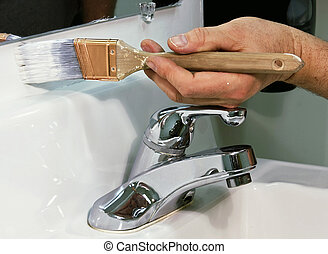 festmény, egy, fürdőszoba