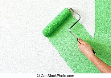 festmény, egy, fal