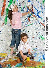 festmény, gyermekek játék