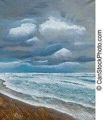 festmény, közül, a, tenger