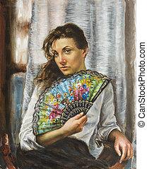 festmény, közül, egy, kisasszony