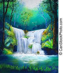 festmény, közül, vízesés