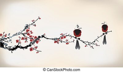 festmény, madár