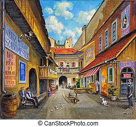 festmény, olaj, öreg templom