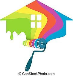 festmény, otthon, tervezés, ügy