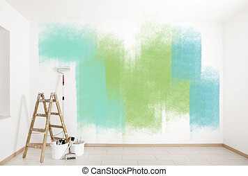 festmény, segédszervek, színes, fal
