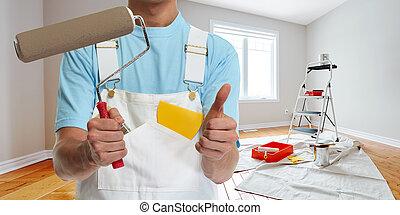 festmény, szobafestő, hajcsavaró, kéz