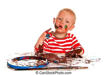 festmény, totyogó kisgyerek