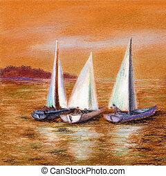 festmény, vitorlázás hajózik, a tengernél