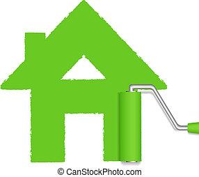 festmény, zöld, hajcsavaró, épület
