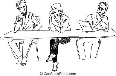 feszítőkötelek, asztal, két, leány