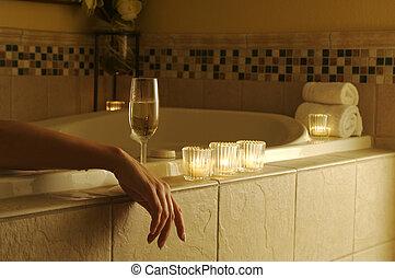 fesztelen, nő, alatt, fürdőkád