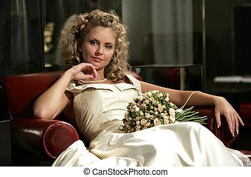 fesztelen, young felnőtt, menyasszony