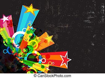 fesztivál, csillag, grunge, háttér