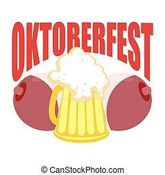 fesztivál, jelkép, bögre, sör, között, oktoberfest., tits., ...