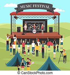 fesztivál, külső, zene, zenemű