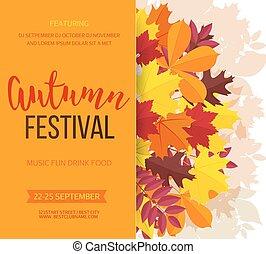 fesztivál, meghívás, leaves., ábra, ősz, háttér., vektor, bukás, transzparens