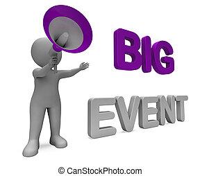 fesztivál, nagy, kiállítás, betű, előadás, alkalom, esemény,...