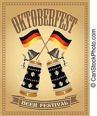 fesztivál, oktoberfest, sör, poszter