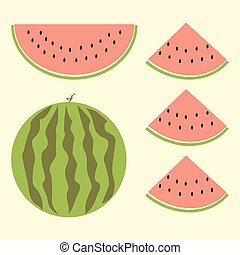 Fet of watermelon with sign, flat style - Cartoon watermelon...
