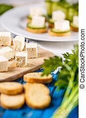 Feta cheese with bruschetta
