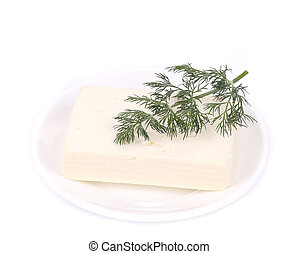 Feta cheese with dill.