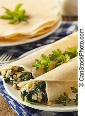 feta, spinacio, crespi, francese, casalingo, delizioso, santoreggia