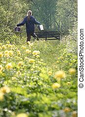 Fetching Water - A girl running through a field fetching ...