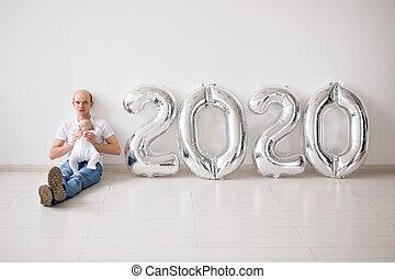 fetes, noël, année, -, bébé, 2020, nouveau, concept, père, ballons, fille, tenue, sien, fier, nouveau né