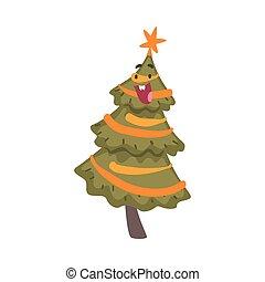fetes, noël, illustration, noël heureux, caractère, vecteur, nouveau, style, sommet, symbole, dessin animé, arbre, étoile, année