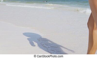 fetes, vacances plage, voluptueux, marche, voyage, femme