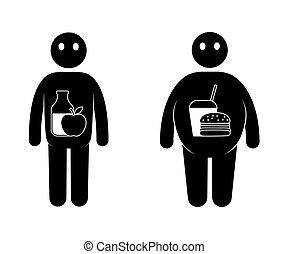 fett, och, tunn, man, icons., normal, vikt, och, övervikt, man.