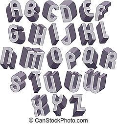fett, schriftart, dimensional, alphabet, monochrom, gemacht, groß, 3d
